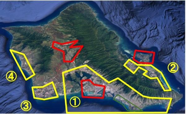 オアフ島の航空写真で物件の場所を確認