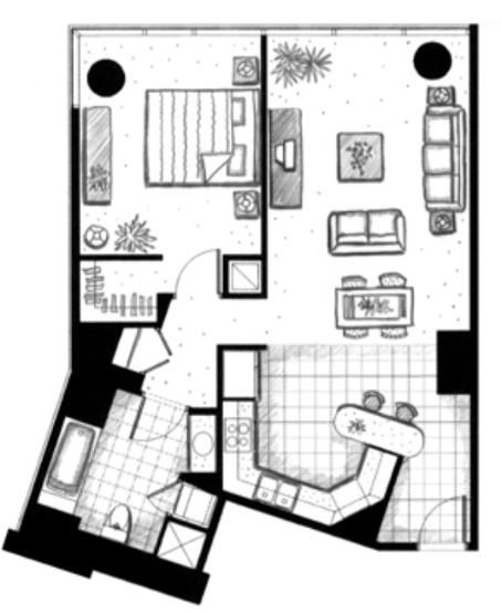 ハワイキタワー1ベッドルーム間取り図