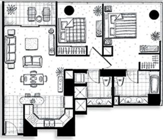 ハワイキタワー2ベッドルーム02ユニット間取り図
