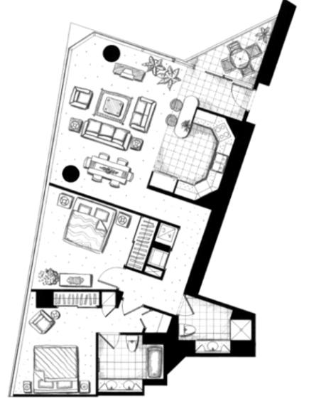 ハワイキタワー2ベッドルーム03ユニット間取り図