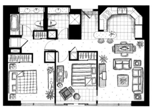 ハワイキタワー2ベッドルーム04-05-06ユニット間取り図