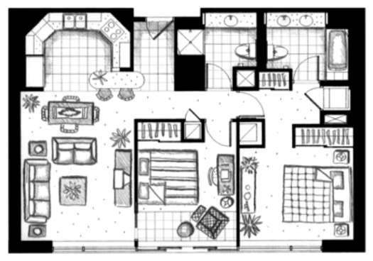 ハワイキタワー2ベッドルーム07-08ユニット間取り図