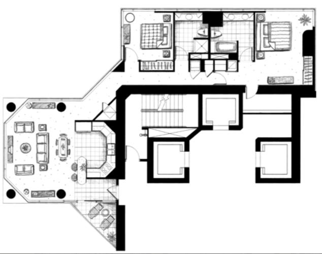ハワイキタワー2ベッドルーム09ユニット間取り図