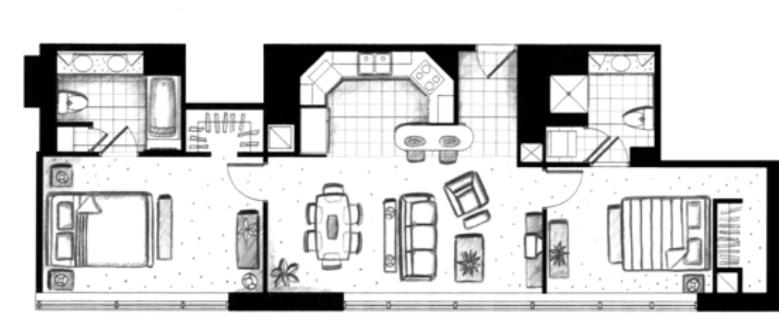 ハワイキタワー2ベッドルーム10ユニット間取り図